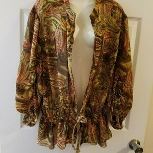 Design Loft Womens 3X Vintage Cardigan Top Shirt O